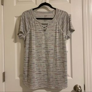 Sonoma gray shirt with cross keyhole